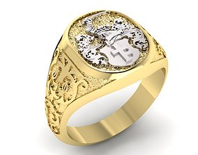 3D print model signet ring with heraldic knight and shield