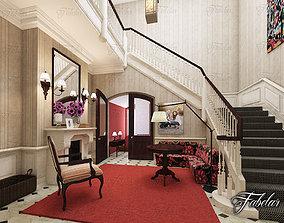 Hall 3D model hallway center