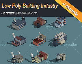 Low Poly Building Industry Isometric Icon 3D asset