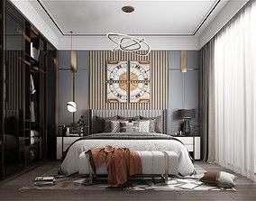 Bedroom interior hotel furniture 3D