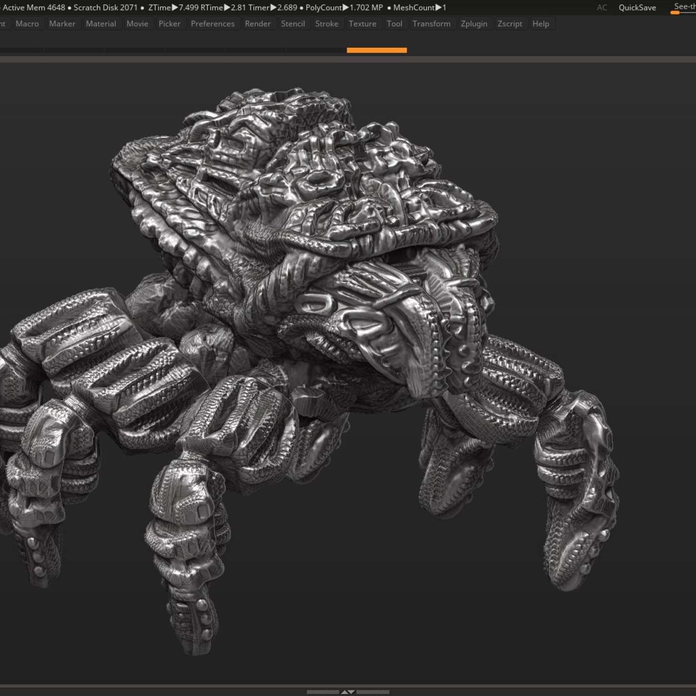 robot spider character 3d print and low poly model PBR textures