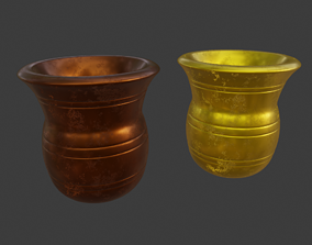 3D asset low-poly Gold and copper metal worship pot