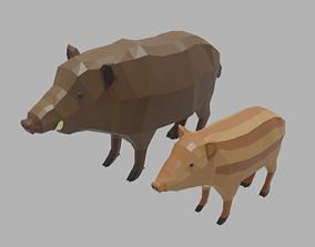 3D model Cartoon Boar Family