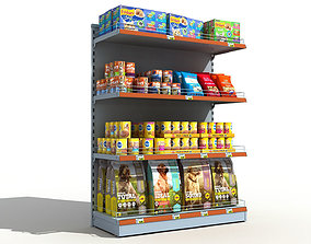 3D model Supermarket Shelves Pets Food