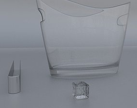 3D model Beverage Ice Bucket with Ice and Tongs