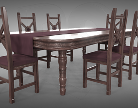 living 3D PBR Table and chairs