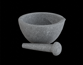 3D model Apothecary Mortar And Pestle granite