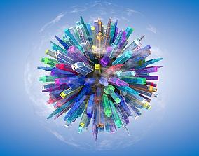 Low Poly Planet Cityscape 3D