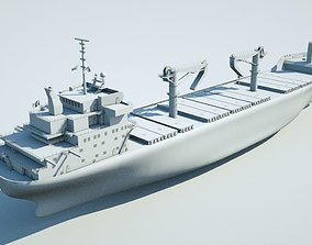 animated Cargo ship 3d model