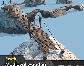 3D model Pack of 7 medieval wooden and stone bridges