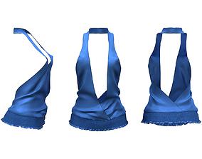 3D model Deep Cleavage V Cut Elastic Bottom Top