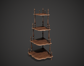 Wooden Corner Stand Shelf 3D asset