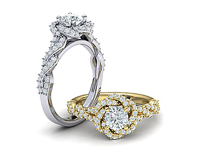 Weaving-Twisted Halo Engagement ring 3dmodel