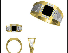Gold Diamond Ring 18 3D