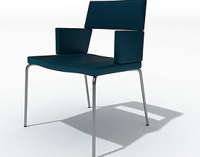 Chair Retro Navy Blue Leather 3D model