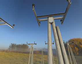 Wooden Electricity A-Pole without Ladder - Object 3D asset