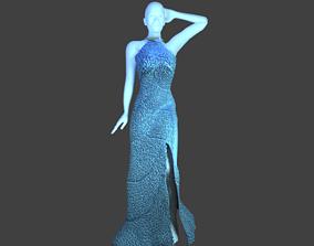 3D model Glittered Blue Gown