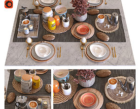 3D asset breakfast table set 011