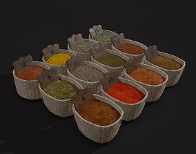 3D asset Medieval Spice Baskets