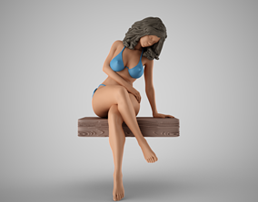 3D printable model Woman Sitting on Pier