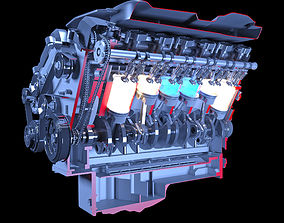 V12 Engine Sectioned Animation Ignition 3D