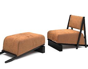 Charlus armchair and Jupien ottoman 3D model