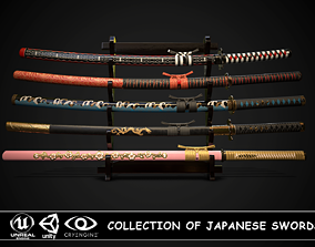 Collection of japanese swords 3D model VR / AR ready