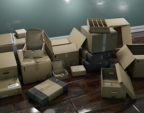 3D model low-poly Cardboard Box pack