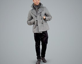Standing Posing Man with Grey Coat 3D