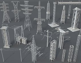 3D model Electric Towers - 20 pieces
