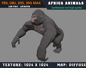 animated Low Poly Gorilla Cartoon 3D Model Animated - Game