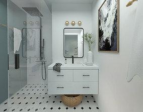 simple clean fresh pastel blue white bathroom wc 3D model