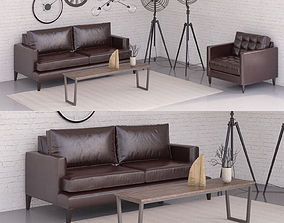 Black sofa set 3D
