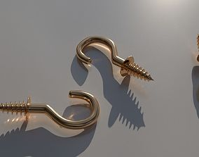 Brass screw hooks 3D