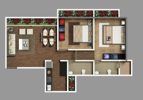 Architectural 2D House Floor Plan Rendering Services