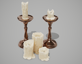 3D model low-poly PBR Candles