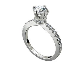 Engagement Ring Solitaire Model Ready For 3D Printing