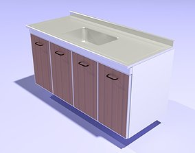 Steel Countertop - Low Poly 3D model game-ready