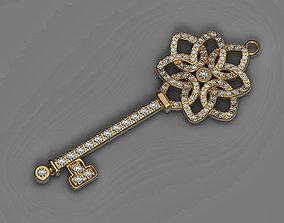 Pendant key 3d print model Diamonds necklace printable 2