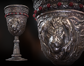 3D asset The Old Goblet with lion design and red stones