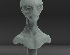 alien bust 3D printable model sci