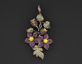 fashion flower pendant 3D printable model