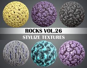 3D asset Stylized Rock Vol 26 - Hand Painted Texture Pack
