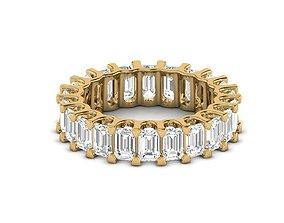 3D printable model U Shape Emerald Diamond Ring