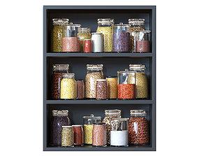 Kitchen shelves with jars 3D