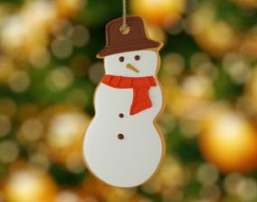 3D model game-ready Christmas snowman
