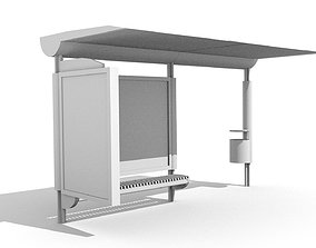 Bus stop 3D model game-ready