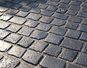 3D model Black cobblestone pavement texture