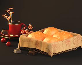 Bread Buns with Sugar 3D model