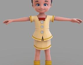 Cartoon Girl girl 3D model realtime